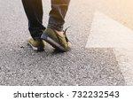 woman wear jeans and sneaker... | Shutterstock . vector #732232543