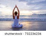 caucasian woman practicing yoga ... | Shutterstock . vector #732236236