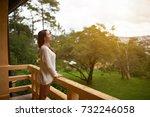 beautiful asian woman breathing ... | Shutterstock . vector #732246058
