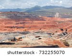 opencast mining quarry with... | Shutterstock . vector #732255070