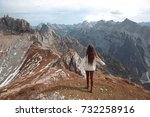 free girl sightseeing. casual... | Shutterstock . vector #732258916