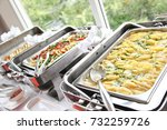 penne pasta and vegetables in... | Shutterstock . vector #732259726