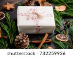 christmas gift on the antique... | Shutterstock . vector #732259936