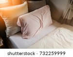 bed maid up with clean white... | Shutterstock . vector #732259999