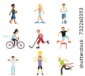 teen boys and girls engaging in ... | Shutterstock .eps vector #732260353