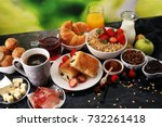breakfast served with coffee ... | Shutterstock . vector #732261418