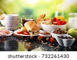 breakfast served with coffee ... | Shutterstock . vector #732261430