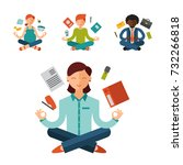 lotus position yoga pose... | Shutterstock .eps vector #732266818
