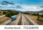 blue truck in motion on the... | Shutterstock . vector #732268090