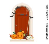 halloween door decorations.... | Shutterstock .eps vector #732268108