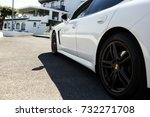 look from behind white car at... | Shutterstock . vector #732271708