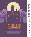 halloween poster with abandoned ... | Shutterstock .eps vector #732272974