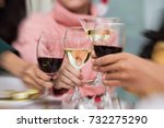 group of friends celebrating... | Shutterstock . vector #732275290
