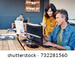two casually dressed young work ...   Shutterstock . vector #732281560