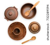 brown pottery  pot  plate  cup  ...   Shutterstock . vector #732289594