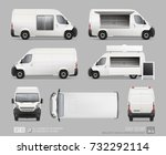set of blank food truck van... | Shutterstock .eps vector #732292114