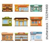 store shop front window... | Shutterstock .eps vector #732294400