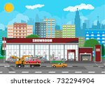 exhibition pavilion  showroom... | Shutterstock .eps vector #732294904