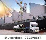 the vessel discharging steel... | Shutterstock . vector #732298864
