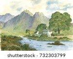 landscape  countryside ... | Shutterstock . vector #732303799