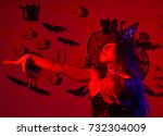 halloween party and decorations ... | Shutterstock . vector #732304009