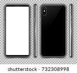 realistic black slim smartphone ... | Shutterstock .eps vector #732308998
