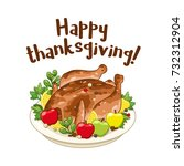 roasted turkey or chicken for... | Shutterstock .eps vector #732312904