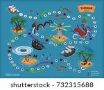 pirate board game for children. ... | Shutterstock .eps vector #732315688