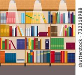 vector bookcase full of books... | Shutterstock .eps vector #732318988