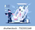 immerse in camera for sleep.... | Shutterstock .eps vector #732331168