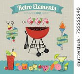 retro elements bbq party  | Shutterstock .eps vector #732333340