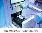 robot with vacuum suckers with... | Shutterstock . vector #732336394