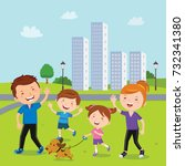 family walk in the neighborhood  | Shutterstock .eps vector #732341380
