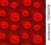 seamless pattern with halloween ... | Shutterstock .eps vector #732343528