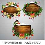 vector wooden christmas board | Shutterstock .eps vector #732344710