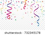 many falling colorful tiny... | Shutterstock .eps vector #732345178