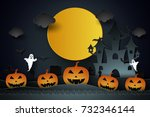 halloween with castle   pumpkin ... | Shutterstock .eps vector #732346144