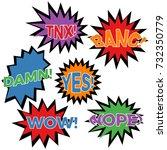 set of six cartoon comic... | Shutterstock .eps vector #732350779