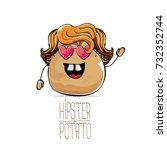 vector funny cartoon cute brown ... | Shutterstock .eps vector #732352744