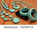 turquoise stone bangle and... | Shutterstock . vector #732355714