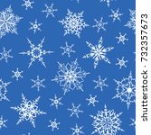 snowflakes seamless pattern.... | Shutterstock .eps vector #732357673