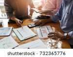 business team meeting and... | Shutterstock . vector #732365776