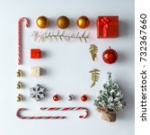 creative christmas layout made... | Shutterstock . vector #732367660