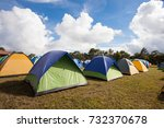 camp tent on phukradueng peak ... | Shutterstock . vector #732370678