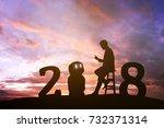 2018 years of robot assistant... | Shutterstock . vector #732371314