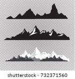 set of black and white mountain ... | Shutterstock .eps vector #732371560