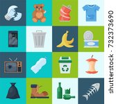 household and waste. recycling... | Shutterstock .eps vector #732373690