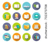 book icon set. learning facts ... | Shutterstock .eps vector #732373708