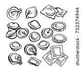 sketch hand drawn pelmeni. meat ... | Shutterstock . vector #732374944