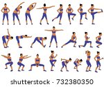 set vector silhouettes of young ... | Shutterstock .eps vector #732380350